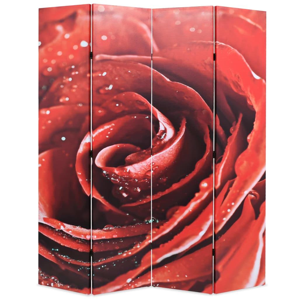 Skládací paraván 160 x 170 cm růže červený