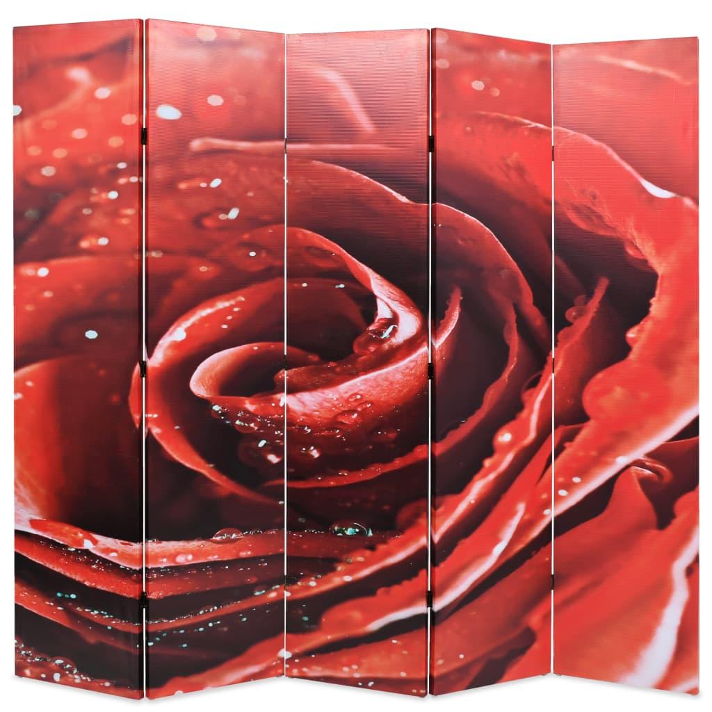 Skládací paraván 200 x 170 cm růže červený