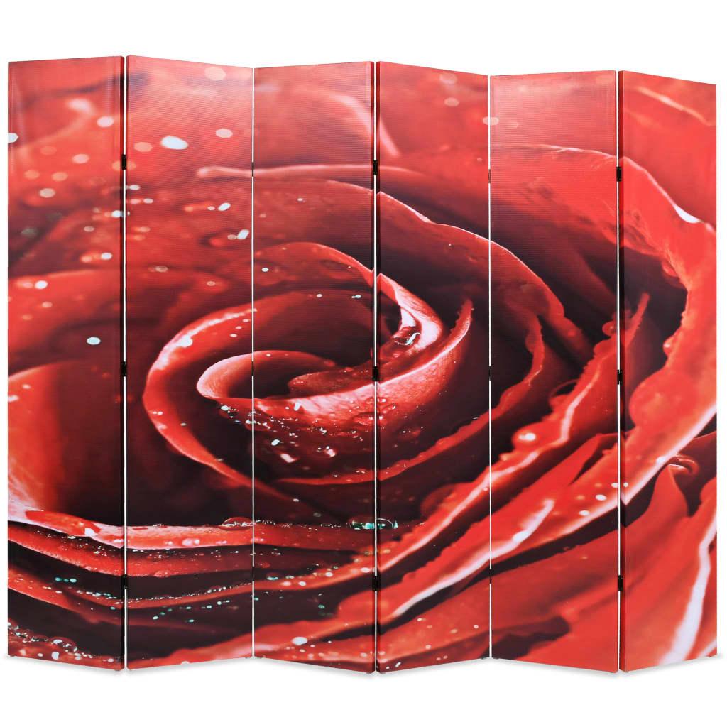 vidaXL Paravan de cameră pliabil, 228 x 170 cm, trandafir roșu vidaxl.ro