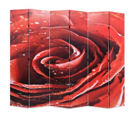 vidaXL Zložljiv paravan 228x180 cm rdeča vrtnica[1/5]