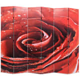 vidaXL Paravento Pieghevole 228x170 cm Stampa Rosa Rossa