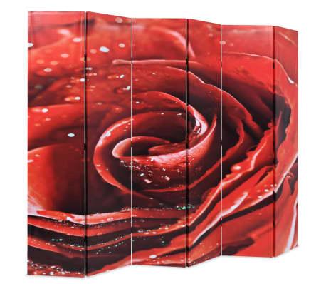 vidaXL Zložljiv paravan 228x180 cm rdeča vrtnica[2/5]