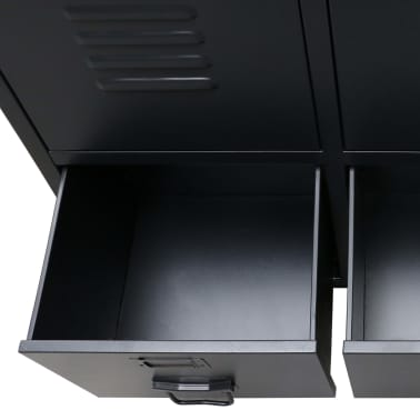 "vidaXL Wardrobe Metal Industrial Style 26.4""x13.8""x42.1"" Black[8/9]"