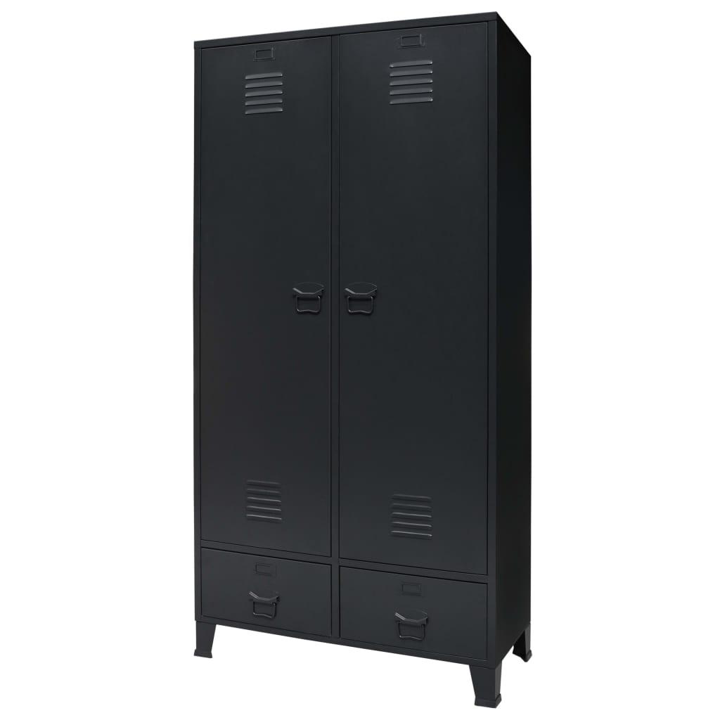 vidaXL Skříň kovová v industriálním stylu 90 x 40 x 180 cm černá