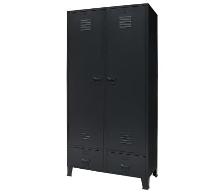vidaXL garderobe i metal industriel stil 90 x 40 x 180 cm sort