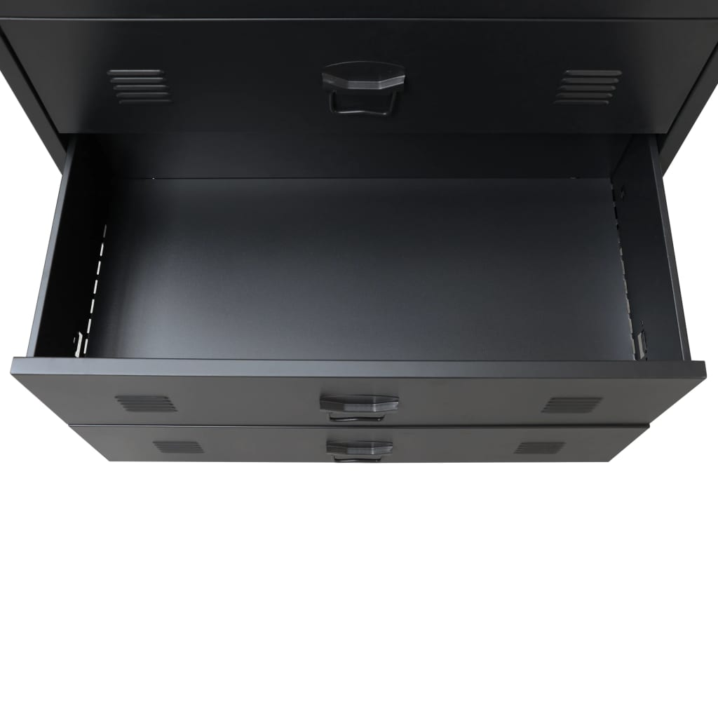 vidaXL-Ladekast-Industriele-Stijl-Metaal-Zwart-Wandkast-Opbergkast-Commode miniatuur 7