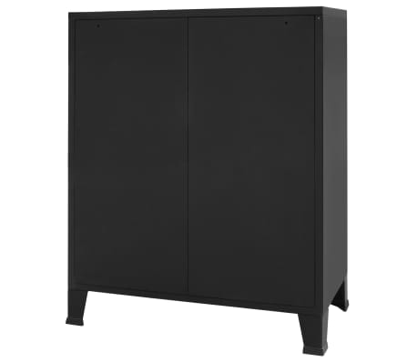 "vidaXL Chest of Drawers Metal Industrial Style 30.7""x15.7""x36.6"" Black[4/9]"