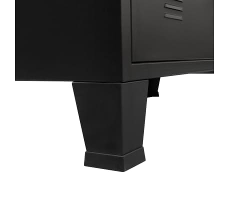 "vidaXL Chest of Drawers Metal Industrial Style 30.7""x15.7""x36.6"" Black[8/9]"