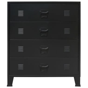 "vidaXL Chest of Drawers Metal Industrial Style 30.7""x15.7""x36.6"" Black[2/9]"