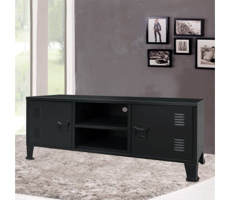 vidaXL TV Cabinet Metal Industrial Style 120x35x48 cm Black[2/7]