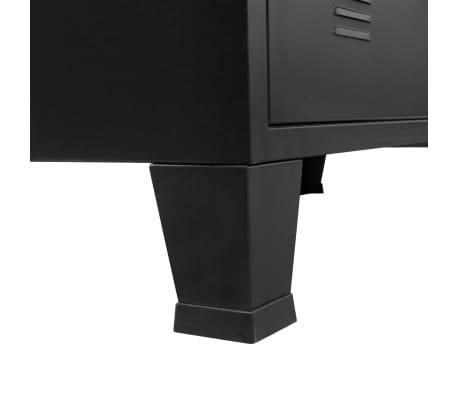 vidaXL TV Cabinet Metal Industrial Style 120x35x48 cm Black[4/7]