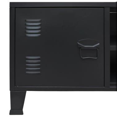 vidaXL TV Cabinet Metal Industrial Style 120x35x48 cm Black[5/7]