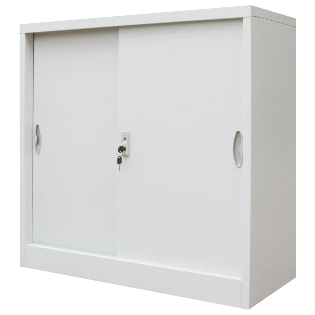 Kancelářská skříň s posuvnými dveřmi kovová 90x40x90 cm šedá