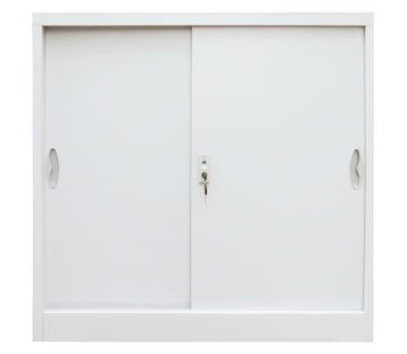 vidaXL Armadio per Ufficio Porte Scorrevoli Metallo 90x40x90 cm Grigio[2/10]