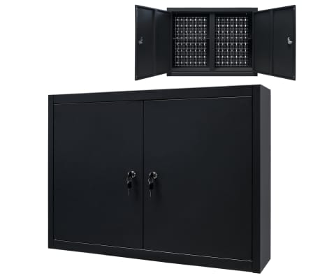 "vidaXL Wall Mounted Tool Cabinet Industrial Metal 31.5""x7.5""x23.6"" Black[1/9]"