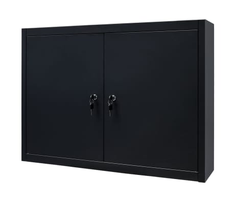 "vidaXL Wall Mounted Tool Cabinet Industrial Metal 31.5""x7.5""x23.6"" Black[3/9]"