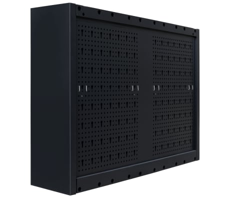 "vidaXL Wall Mounted Tool Cabinet Industrial Metal 31.5""x7.5""x23.6"" Black[9/9]"