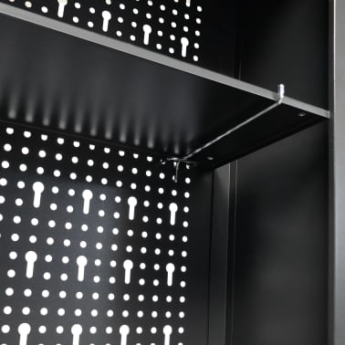 "vidaXL Wall Mounted Tool Cabinet Industrial Metal 31.5""x7.5""x23.6"" Black[8/9]"