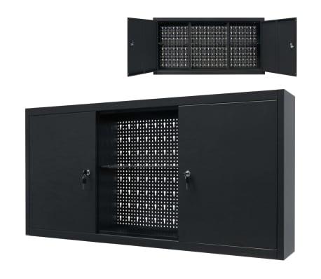 vidaXL Werkzeugschrank zur Wandmontage Metall 120x19x60 Schwarz[1/9]