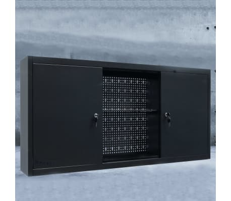 vidaXL Werkzeugschrank zur Wandmontage Metall 120x19x60 Schwarz[2/9]