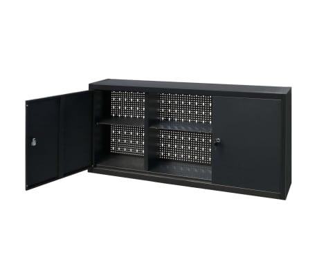 vidaXL Werkzeugschrank zur Wandmontage Metall 120x19x60 Schwarz[4/9]