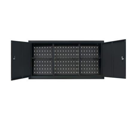 vidaXL Werkzeugschrank zur Wandmontage Metall 120x19x60 Schwarz[6/9]