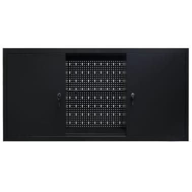 vidaXL Werkzeugschrank zur Wandmontage Metall 120x19x60 Schwarz[3/9]