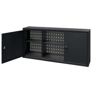 vidaXL Dulap de scule suspendat, industrial, metal 120x19x60 cm, negru[4/9]