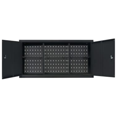 vidaXL Dulap de scule suspendat, industrial, metal 120x19x60 cm, negru[6/9]