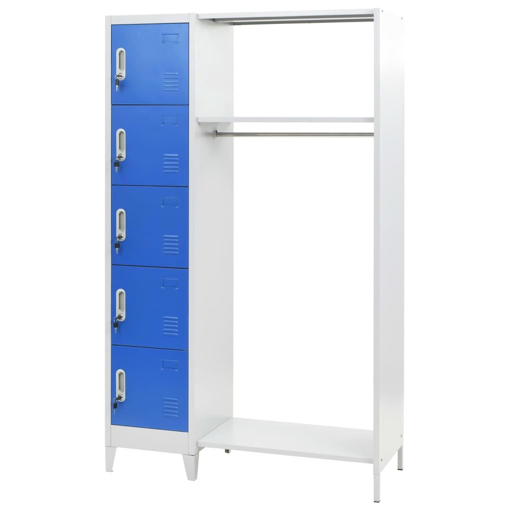 vidaXL Lockerkast met kapstok 110x50x180 cm metaal blauw en grijs