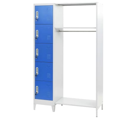vidaXL Dulap vestiar cu poliță haine albastru & gri 110x45x180cm metal[1/7]