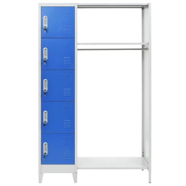 vidaXL Dulap vestiar cu poliță haine albastru & gri 110x45x180cm metal[2/7]