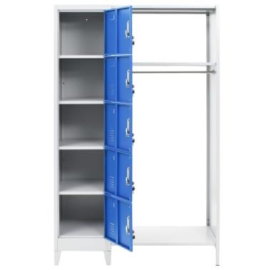 vidaXL Dulap vestiar cu poliță haine albastru & gri 110x45x180cm metal[3/7]