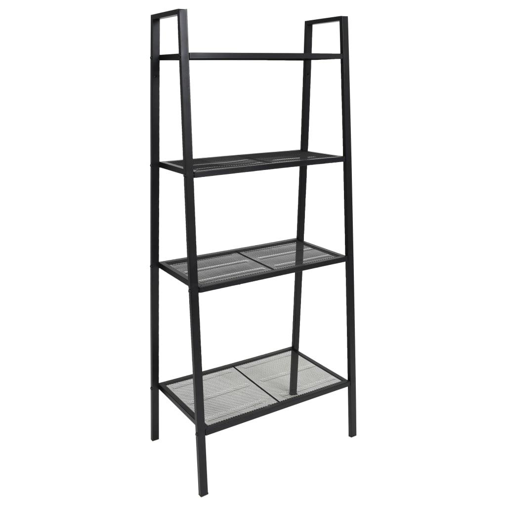 vidaXL Bibliotecă tip scară, 4 trepte, metal, negru poza vidaxl.ro