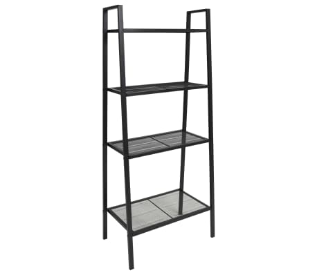 vidaXL Ladder Bookcase 4 Tiers Metal Black[1/6]