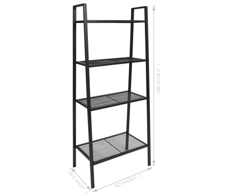 vidaXL Ladder Bookcase 4 Tiers Metal Black[6/6]