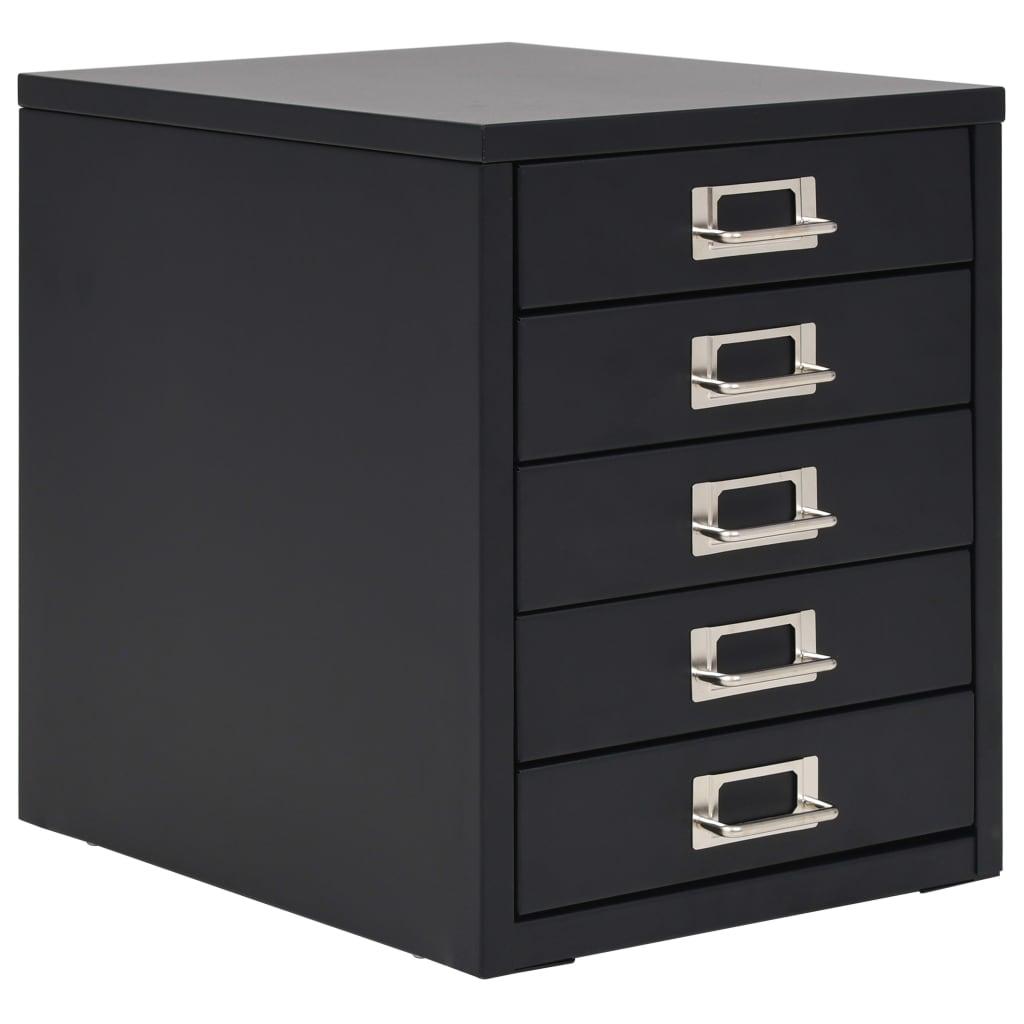 vidaXL Fișet cu 5 sertare, metal, 28 x 35 x 35 cm, negru imagine vidaxl.ro
