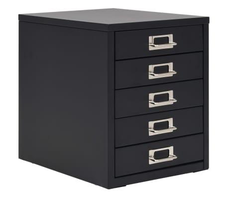 vidaXL Συρταριέρα Αρχειοθέτησης 5 Συρτάρια Μαύρη 28x35x35 εκ. Μέταλλο