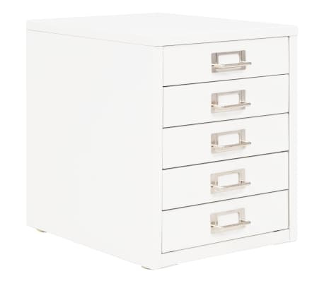 vidaXL Filing Cabinet with 5 Drawers Metal 28x35x35 cm White