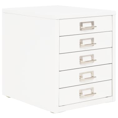 "vidaXL Filing Cabinet with 5 Drawers Metal 11""x13.8""x13.8"" White[1/9]"