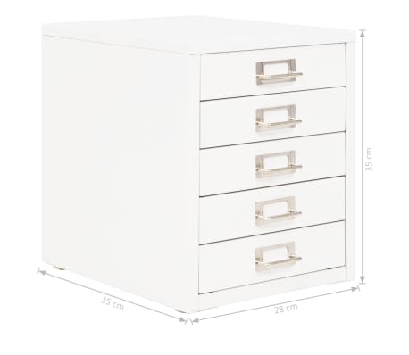 vidaXL Filing Cabinet with 5 Drawers Metal 28x35x35 cm White[9/9]