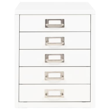 "vidaXL Filing Cabinet with 5 Drawers Metal 11""x13.8""x13.8"" White[2/9]"