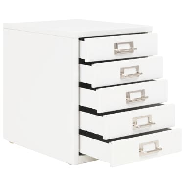 "vidaXL Filing Cabinet with 5 Drawers Metal 11""x13.8""x13.8"" White[3/9]"
