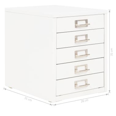 "vidaXL Filing Cabinet with 5 Drawers Metal 11""x13.8""x13.8"" White[9/9]"