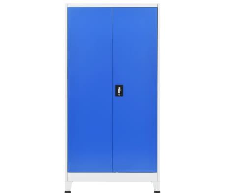 vidaXL Dulap de birou, metal, 90 x 40 x 180 cm, gri și albastru[3/8]