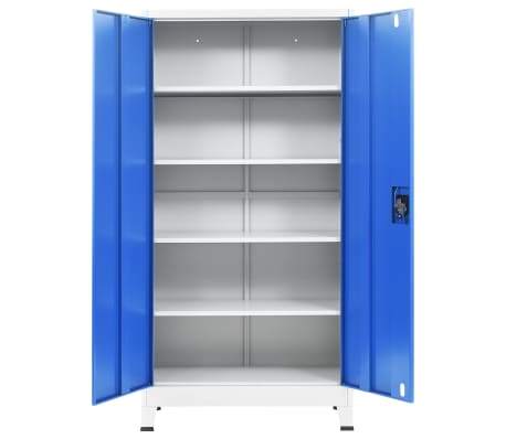 vidaXL Kontorskap metall 90x40x180 cm grå og blå[4/8]