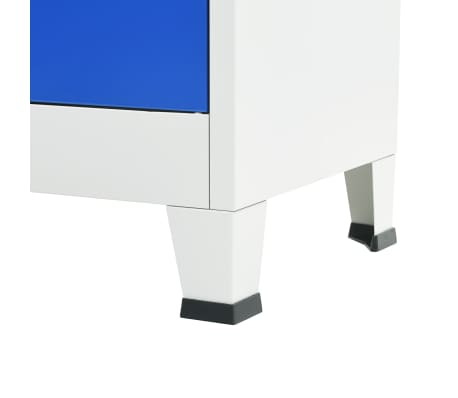 vidaXL Kontorskap metall 90x40x180 cm grå og blå[6/8]