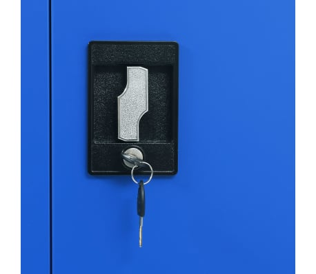 vidaXL Dulap de birou, metal, 90 x 40 x 180 cm, gri și albastru[7/8]