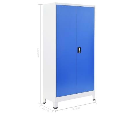 vidaXL Kontorskap metall 90x40x180 cm grå og blå[8/8]