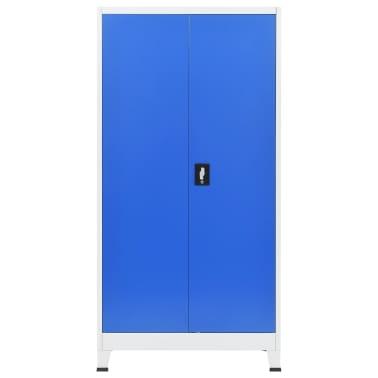 vidaXL Armário de escritório 90x40x180 cm metal cinzento e azul[3/8]
